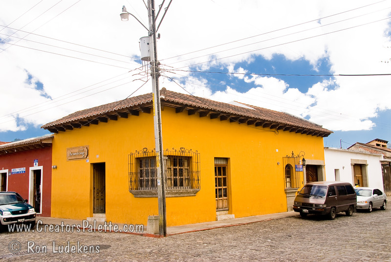 Guatemala Mission Trip - Day 8 - Friday, November 16, 2007 <br /> Colorful building - opposite corner from Church of San Agustin in Antigua Guatemala