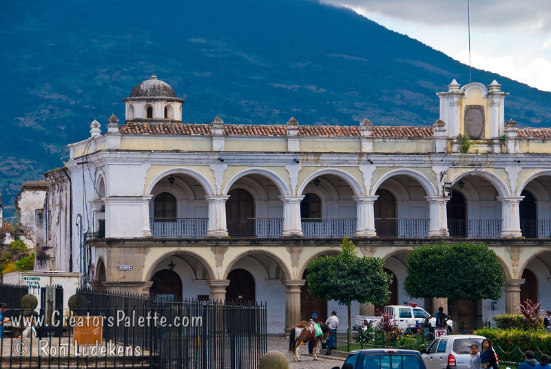 Guatemala Mission Trip - Day 8 - Friday, November 16, 2007<br /> Palace of the Captains - Palacio de Capitanes - south of Central Park and next to Cathedral.  Agua Volcano in background.  Antigua Guatemala.