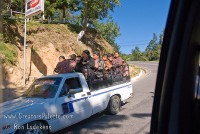 Guatemala Mission Trip - Day 8 - Friday, November 16, 2007    Typical mode of transportation is ride sharing or car pooling.  It is common to see the back of pickup trucks loaded with people and people waiting along the side of the road for their ride.
