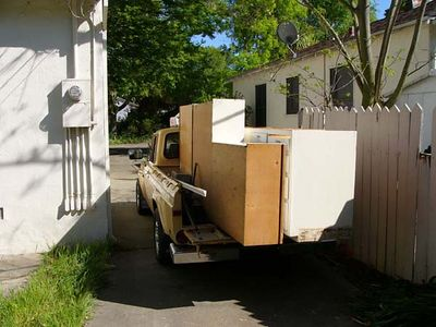 And into a teeny tiny old Mazda pickup (rotary powered, you know!), and off the cabinets went, to a future in an old home in mid-town Sacramento.  Re-use or Recycle - don't landfill!