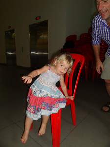 Coralie wins her first game of Musical Chairs