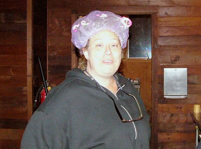 Suzanne, one of our verrrry inventive chefs, modelling her haute coutere shower cap.