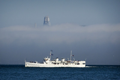 """""""Sales Force"""" Tower in the fog"""