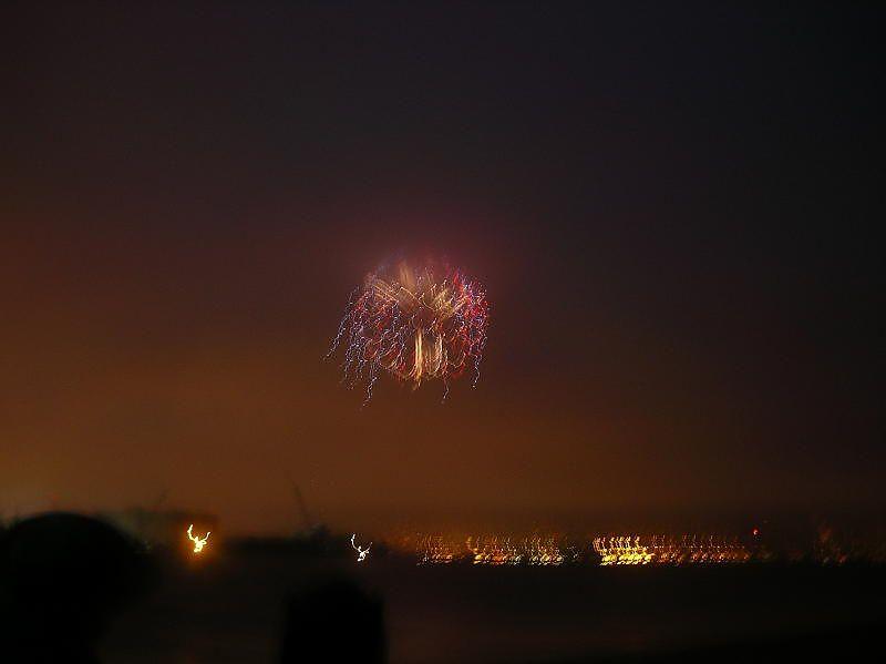 Fireworks shrouded in the high fog.