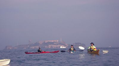 We launch out of Crissy Field with a light haze in the sky.