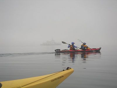 The second morning of our trip, launching from Warren Island, on our way to Butter Island.  We still think fog is a nice way to keep winds down and limit sun exposure.  What little we knew.