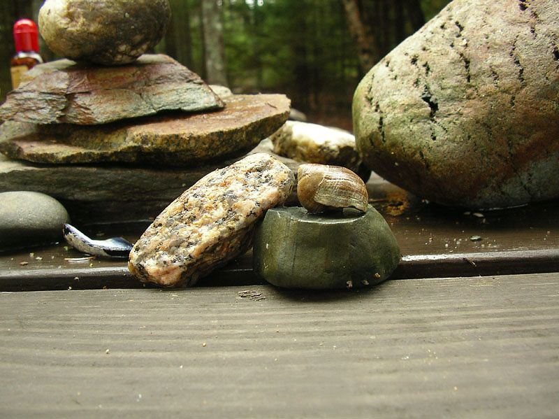 Our picnic table came complete with a nice little Zen sculpture.