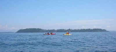 Bear Island up ahead.  This turns out to be a rare clear day we get to paddle in.