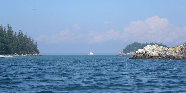 Sailboat off the north side of Barred Island.