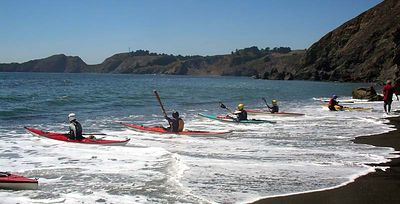 While the more energetic ones practice synchronized launching to go back around Point Bonita.