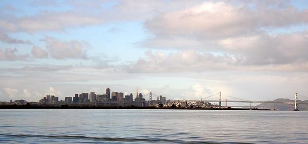 Happy New Year, 2005!  The weather cleared in time to add a glint to the Bay Bridge.