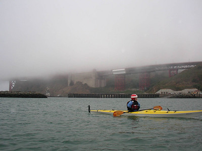 Then the foggy bay.  Kim getting ready to lead the charge.