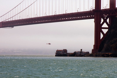 Helicopter under the bridge.  The things we do for the tourists.