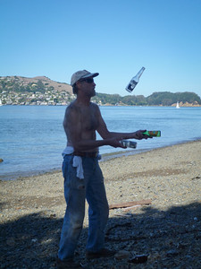 During the lunch break, Don juggles some beach glass.