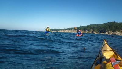 free of kelp, we travel northward