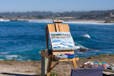 a monday bike ride to Point Lobos, passing Pebble Beach and the Pebble Beach Plein Aire painters.