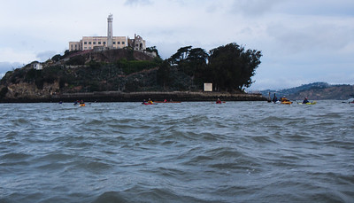Waters at Alcatraz were choppy with the waning ebb combined with a stiff incoming breeze.