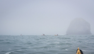 We make our way through the fog back to the beach, and beer, and story-telling.