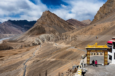 C27:The beautiful entrance to Key Monastery is dwarfed by the stark mountains of Spiti,Himachal Pradesh