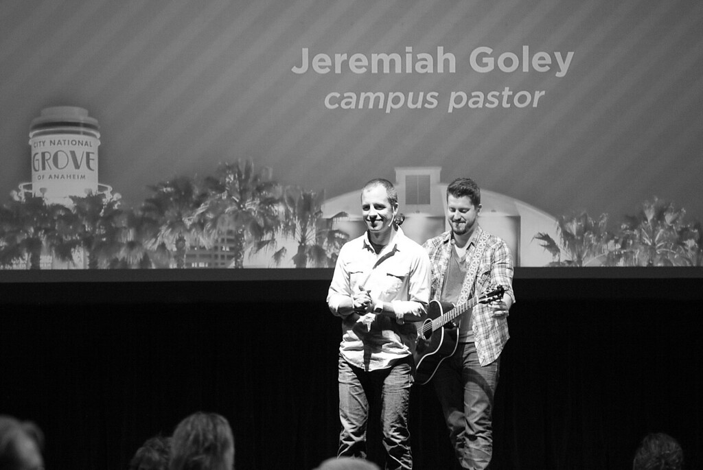 Pastor Jeremiah Goley and worship leader Travis Collins on stage at the Grove on Sunday April 15, 2012.