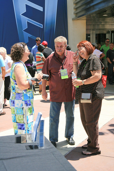 Tracy, Ken and Irma fellowshipping on the patio between services on Sunday August 5, 2012.