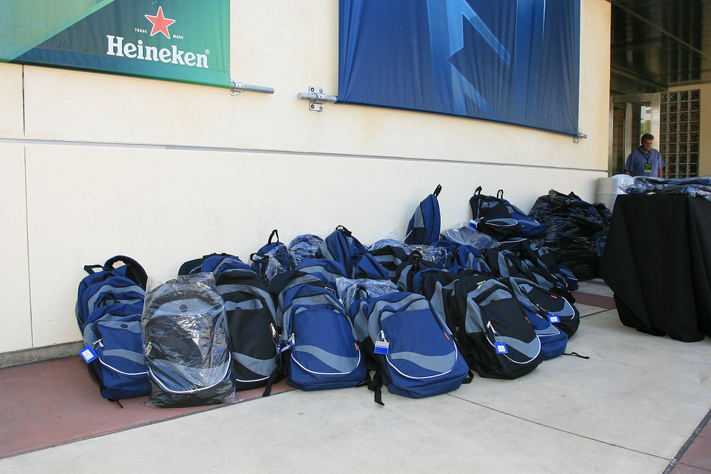 Backpacks ready to be distributed to children for Operation Backpack.