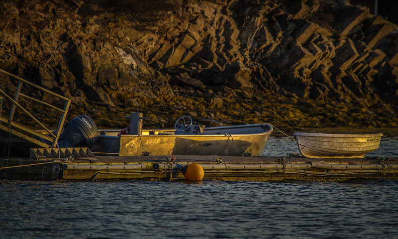 Sunset light on skiff and dingy, at Look Out Point, Harpswell Maine