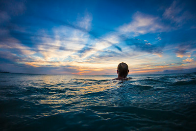 Big Island lifeguard Ben Fisher at sunset