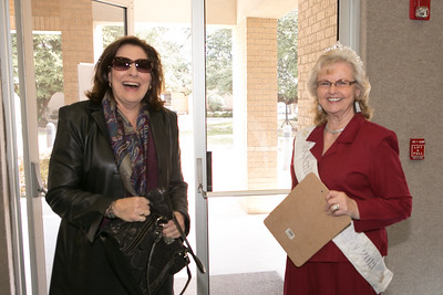 Aledo Mayor Kit Marshall is greeted on arrival by Ms. Senior Parker County Billie June Cox.