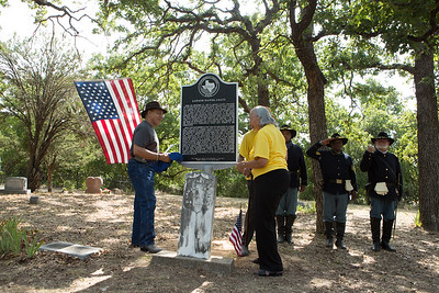 Josef Gratts and Helen Gratts Eldridge at the unveiling of the historical marker with members of the North Texas Buffalo Soldiers.