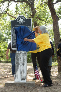 Helen Gratts Eldridge has the honor of unveiling the historical marker at Willow Springs Colored  Cemetery Saturday.