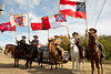 The Confederate Mounted Cavalry Unit Color Guard of the Sons of Confederate Veterans camp #586 prepares for procession into the cemetery.  From left:  Calvin Allen, Joshua Carter, Jerry Puckett, Tom Tierce and David Wilson.