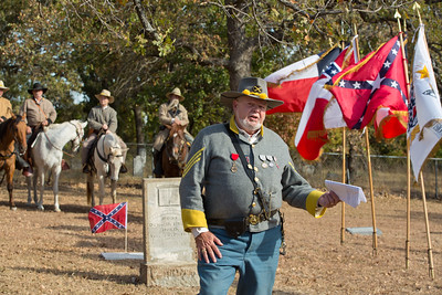 Jerry Walden, Sons of Confederate Veterans Camp Commander, spoke about Robertson's life and service in the 5th Texas Calvary.