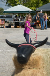 Allison Phillips of Weatherford ropes a steer in the Kiddie Korral.