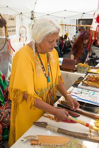 Quiet Dove displays native american items.