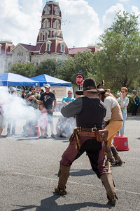 Legends of Texas entertainer Bowie Two Gun has a dramatized shoot-out with the sheriff on the square in Weatherford.