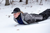 Lara Garton slides down an icy slope on Friday without needing a sled.