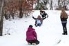 Nadia Hogan slides down an icy hill on Friday.