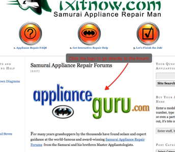Forum Page at Fixitnow.com