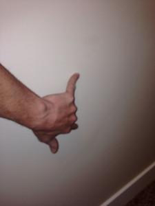 scuffed/soiled wall - upstairs landing