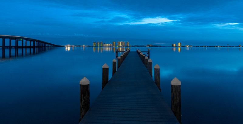Dock, bridge and skyline