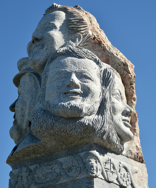Granite monument of Danish Royal Family in the village of Aasiaat in west Greenland