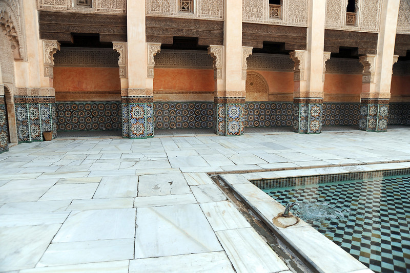 Rich Islamic art in the Ben Youssef madrassa (religious school) in Marrakesh, Morocco