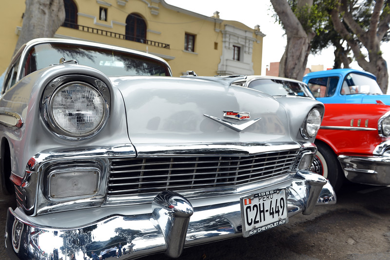 American oldtimers at local show in the neighborhood of Barranco in Lima, Peru