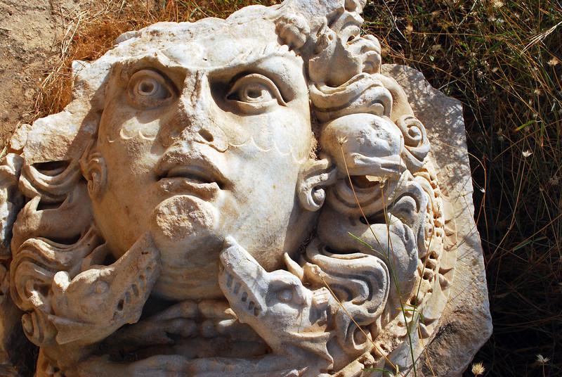 Fallen Medusa head in Leptis Magna, Libya
