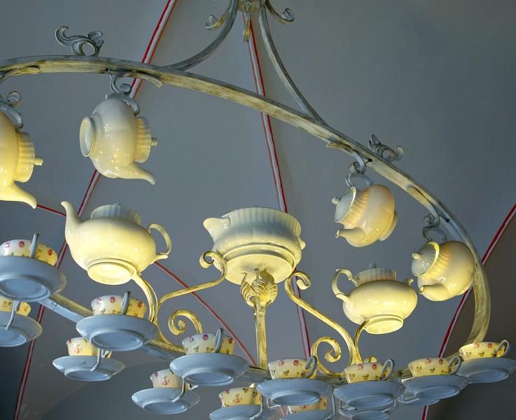 Designer chandelier in a patisserie in Krakow, Poland