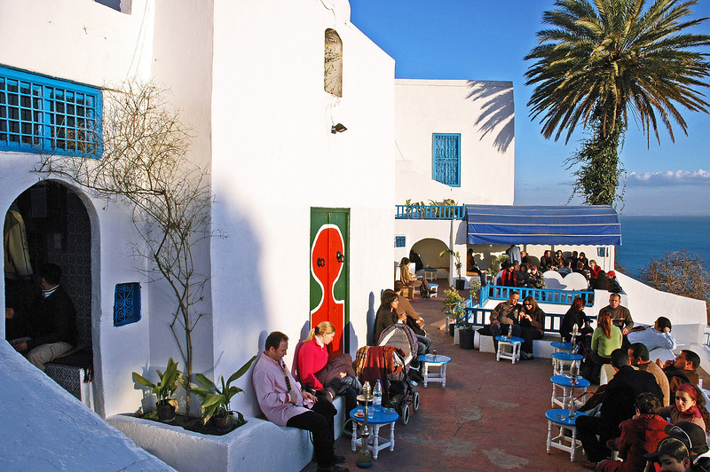 Winter afternoon at cafe in Sidi Bou Said, Tunisia