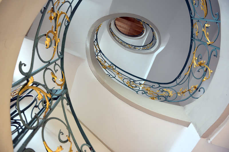 Interior staircase at the Hackesche Höfe in Berlin, Germany