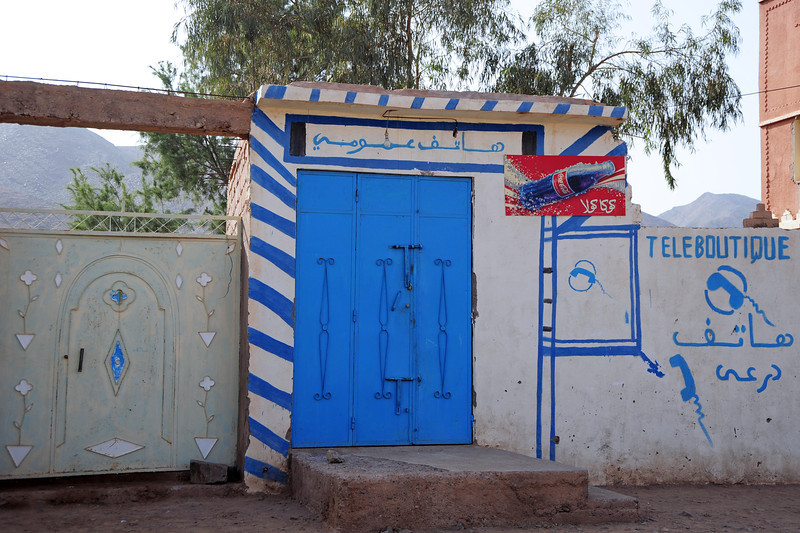 Modern telecoms entering traditional village life, southern Morocco