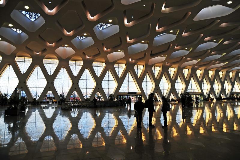 Modern airport terminal building at Marrakesh airport, Morocco